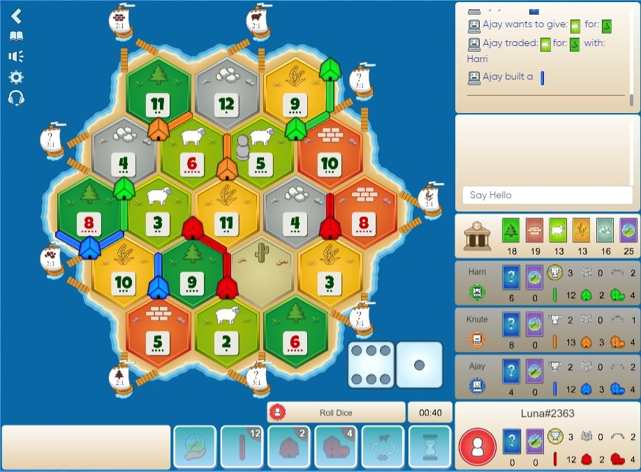 Settlers of Catan online for free: https://colonist.io/