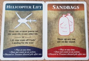forbidden island board game review helicopter lift and sandbags cards