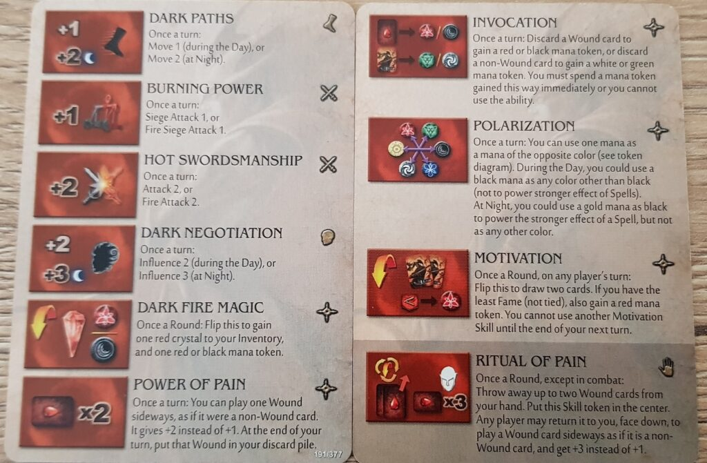 Mage Knight Heroes arythea skills