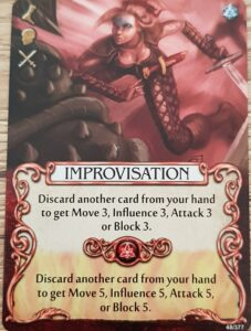 Mage Knight Heroes and their Abilities improvisation cards