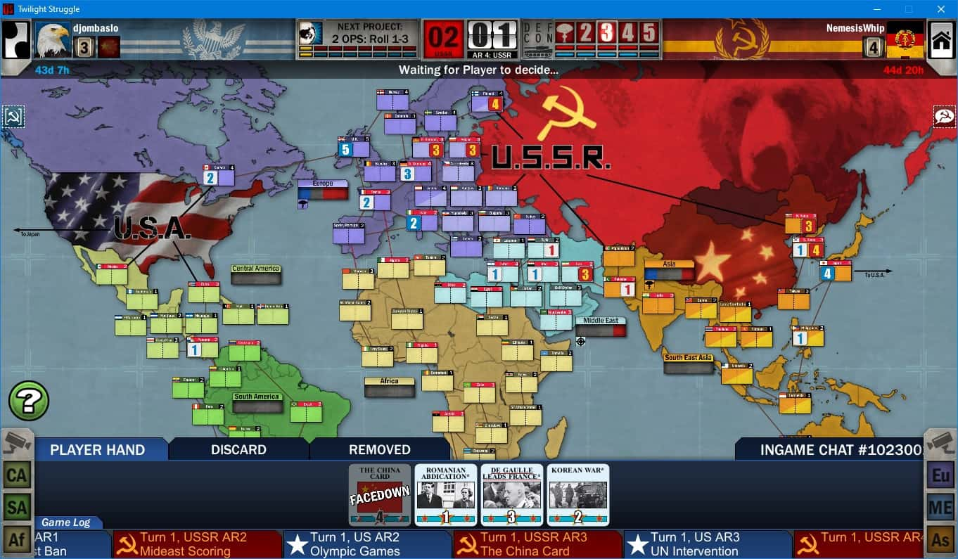 Twilight Struggle Review Board Game and Video Game main board view