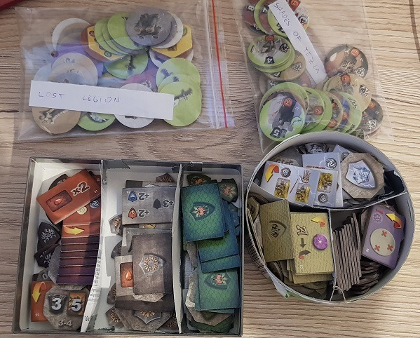 organizing mage knight ultimate edition character tokens and enemy tokens
