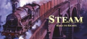Best Train Board Games steam rails to riches logo
