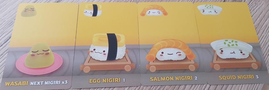 sushi go review wasabi egg nigiri salmon nigiri squid nigiri
