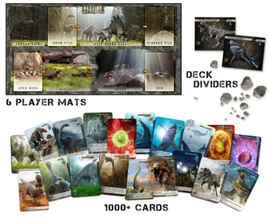 best dinosaur board games apex theropod deck-building game components