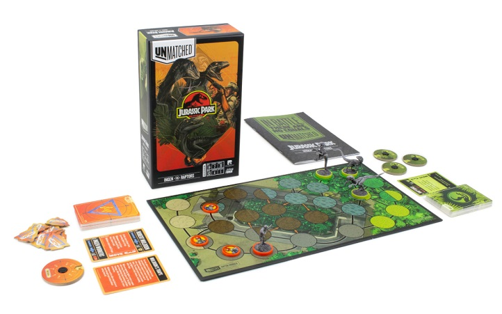 best dinosaur board games unmatched jurassic park board and components