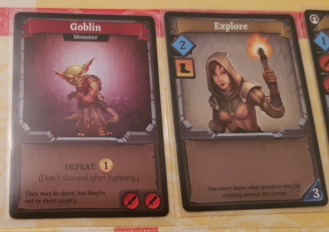 Clank Board Game Review Goblin and Explore cards